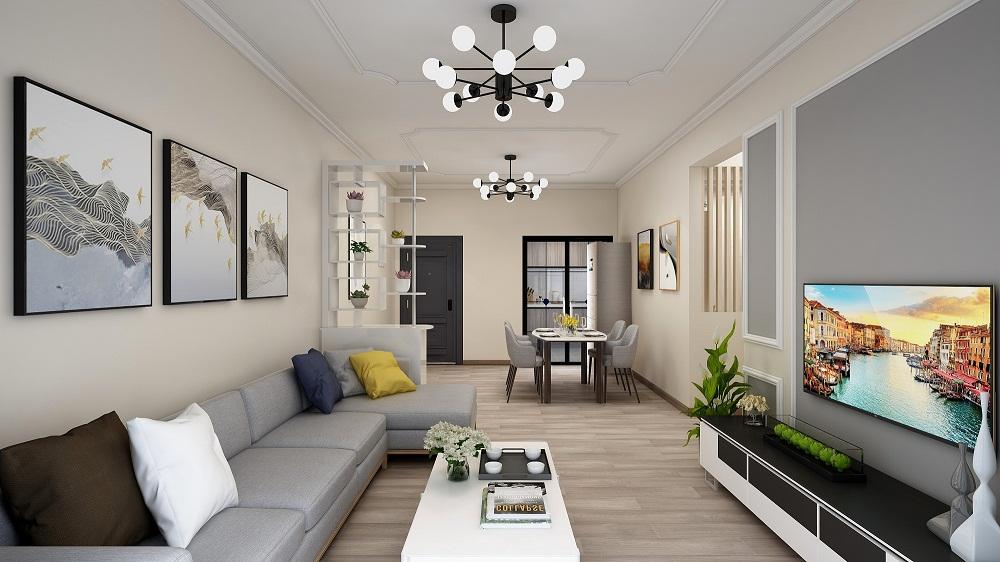 三居室现代简约风格装潢样板间