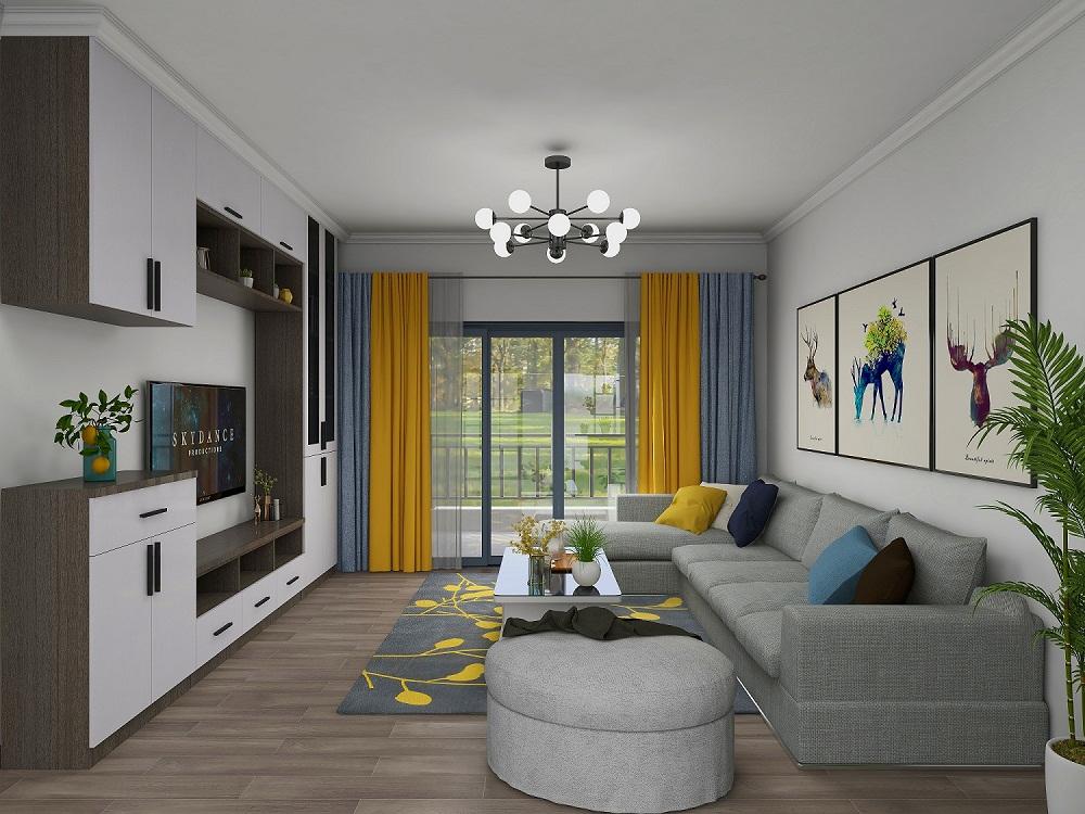 三居室现代简约风格装潢实例