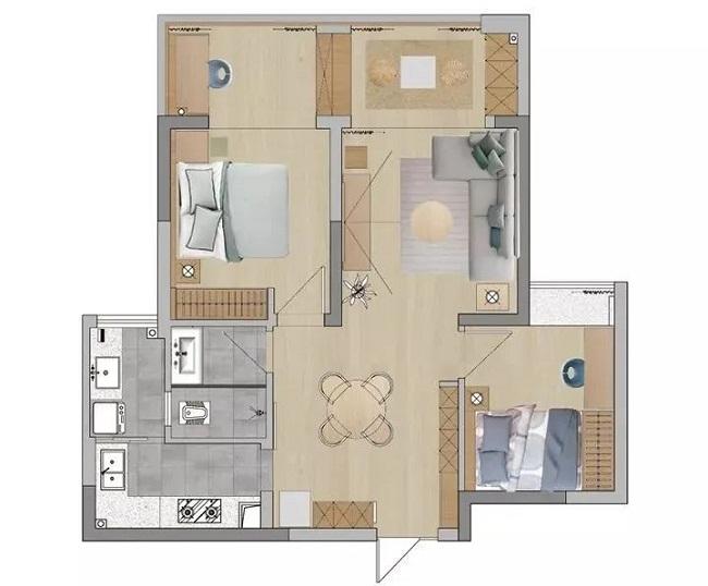二居室日式风格装修实例图